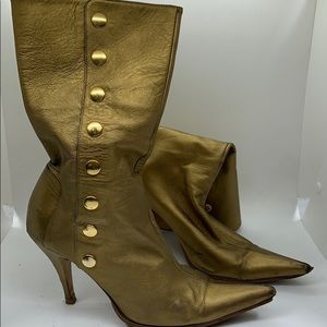 Dolce gabbana snap gold boots size 37.5